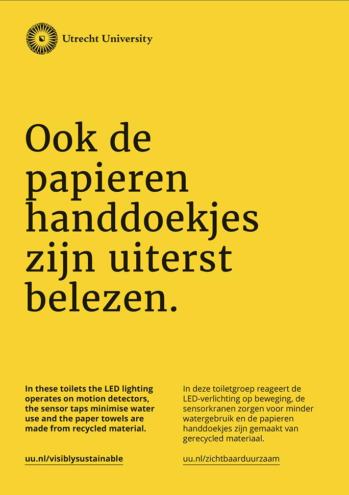 Universiteit Utrecht / Green Office / Poster / Ook de papieren handdoekjes zijn uiterst belezen / 2016