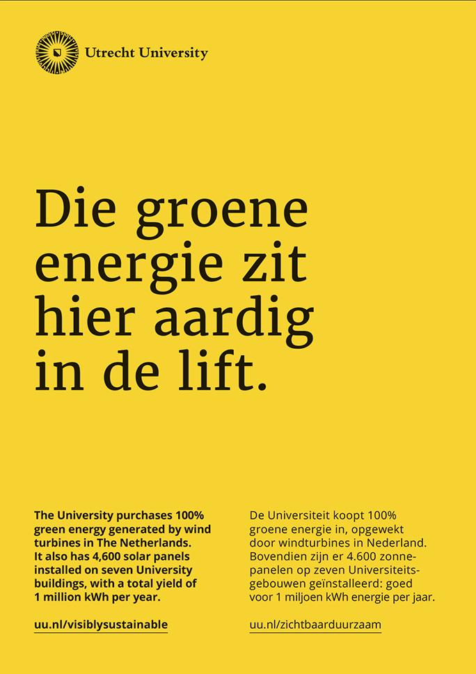 Universiteit Utrecht / Green Office / Poster / Die groene energie zit hier aardig in de lift / 2016