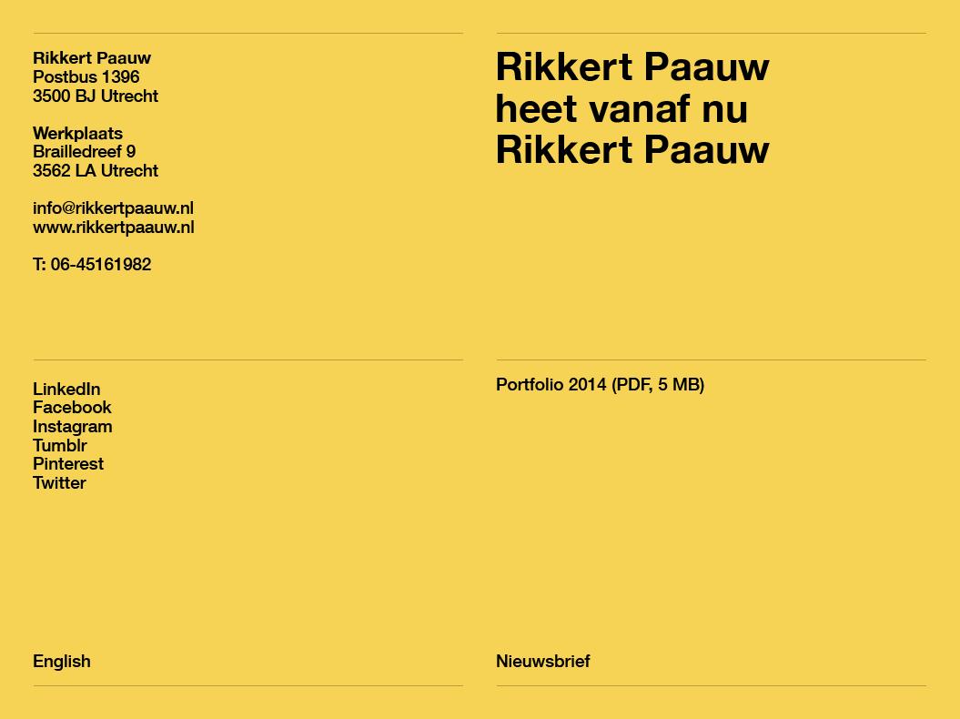Rikkert Paauw / Website / 2014