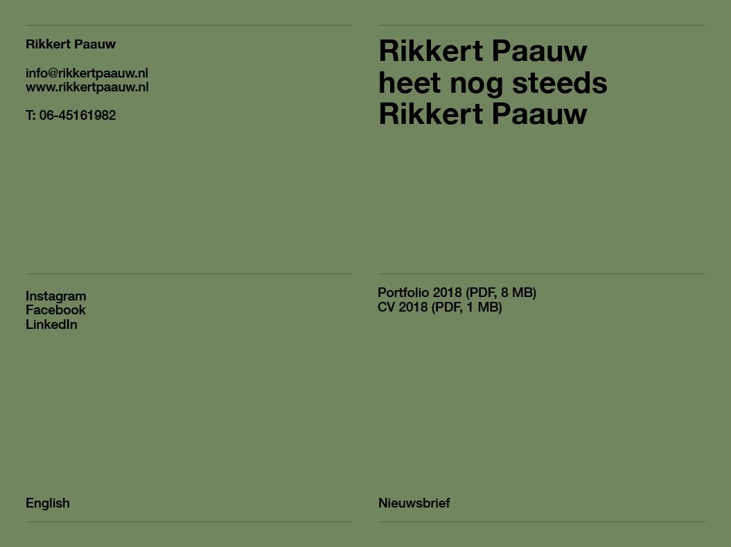 Rikkert Paauw / Website / 2018