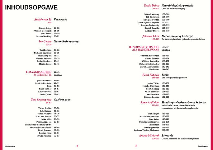 Niet Normaal / Publicatie / Table Of Contents / 2009