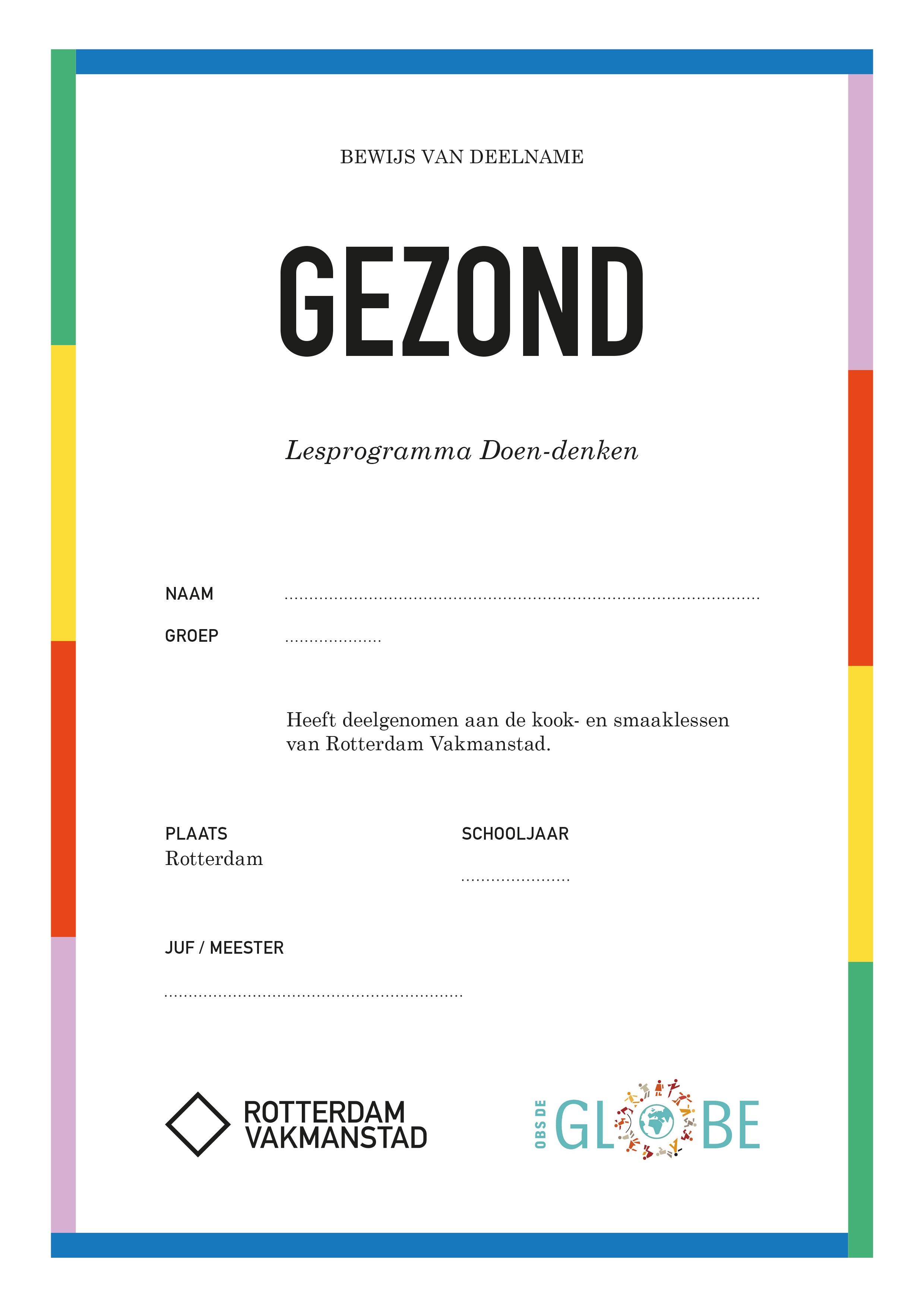 Rotterdam Vakmanstad / Doen-denken / Certificaten / OBS De Globe / 2020