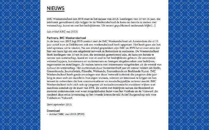 Rotterdam Vakmanstad / Website / Nieuws Artikel / 2012