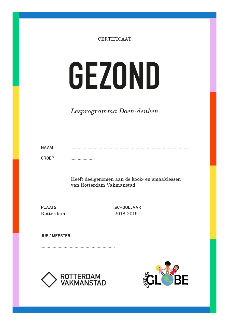 Rotterdam Vakmanstad / Doen-denken / Certificaat / 2019
